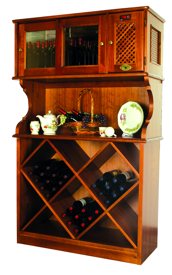 Wood wine cabinet with fridge, freestanding wine cooler and butler's pantry