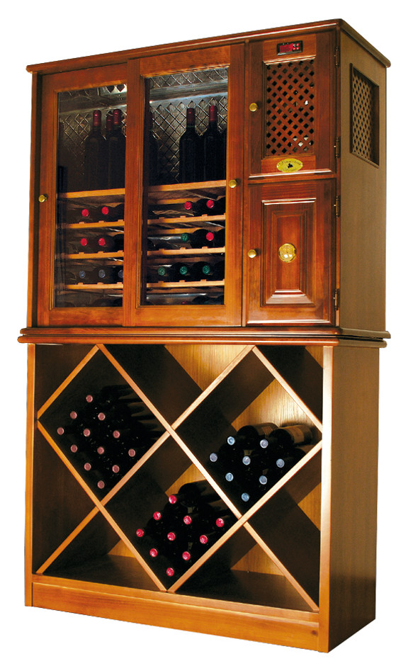 Wood cabinet fridge, freestanding wine cooler and butler's pantry